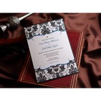 Full view of the rectangular black and white wedding invite with black border, Victorian patterns