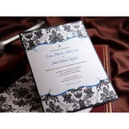 black white and blue digitally printed invitation featuring swarovski crystal and vintage patterns