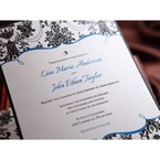 Zoomed in view of the gemmed invitation, digitally printed, vintage frame design