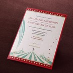 Red bordered digitally printed circus inspired invitation