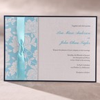 Blue ribboned,blue floral desing, digital printed black bordered flat layered wedding invite