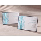 Digital printed classic blue floral design, hand assembled detail flat layer card, full view