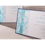 Blue ribbon, blue digital printed floral design, hand assembled detail , cropped
