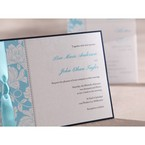 Black border, hand assembled detail . blue digital printed floral design flat layer card