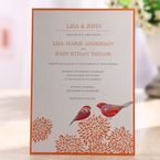 Orange bordered bird designed digitally printed flat layered wedding card