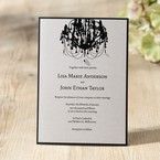 Modern black and white wedding invitation with chandelier design and jewel embellishment, layered type, digital