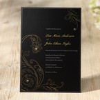 Black Classic gold floral design jeweled digital printed flat layered wedding card