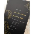 Black Urban Chic with Gold Swirls - Bridal Shower Invitations - 18