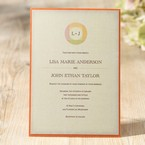 Retro themed invitation featuring tri colored monogram with orange backing layer, digital print