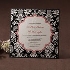Mordern white floral designed wedding invitation with black border, swaorvski accent and red center frame