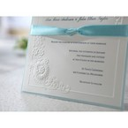 Blue lined wedding invite with embossed silkscreened Victorian design, thermography printed, cropped
