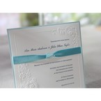 Blue bordered embossed classic floral design flat layer card with blue knotted ribbon