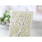 Laser cut garden wedding card, beige inner paper
