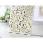 Rectangular white laser cut garden inspired wedding invitation, beige  inner card, cropped