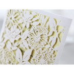 Rectangular white laser cut garden inspired wedding invitation, beige  inner card, corner cropped