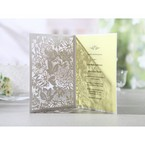 Rectangular white laser cut garden invitation, opened, beige inner paper