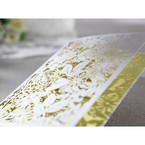 Folded laser cut detail, wedding invitation with beige inner paper