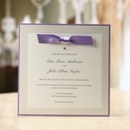 Violet bordered flat layered wedding invite with violet knotted ribbon, jeweled