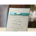 Flower patterned wedding invitation, pearlised paper, layered invitation with matching blue ribbon
