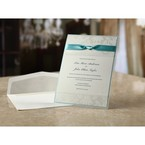White wedding card with blue border, white envelope, raised lettering on pearl paper