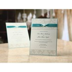 Pearl finish wedding card, floral patterns, blue ribbon embellished card
