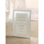 Embossed floral design frame, jeweled white thermography printed center card flat layered card