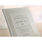 Embossed design flat layered wedding invite with diamante, white thermography printed center paper