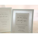 White thermography printed jeweled center card embossed designed frame wedding card