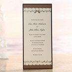 Chocolate brown bordered invitation accented with embossed and foil stamped ribbon and floral design, flat layered
