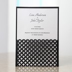 White Gated Elegance Laser Cut Pocket - Wedding invitation - 83