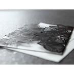 Black floral pocket wedding card, white inner paper