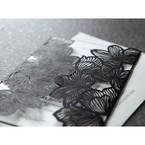 Black and white formal wedding invitation, gatefold floral pocket