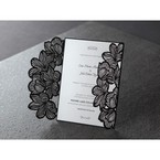 Black floral laser cut invitation with gatefold, white inner paper