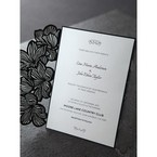 Raised ink wedding invitation, white inner card, black lasercut
