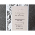 Zoomed in laser cut announcement card featuring off centered metallic shimmer paper,