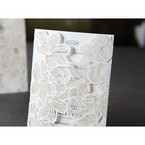 Lotus flower patterned laser cut gatefold invite, black raised ink font, light grey insert card