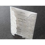 White floral invitation open laser cut gates top view