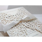 Silk ribbon detail; white floral invitation; gatefold