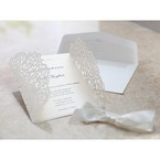 Opened flaps; floral laser cut wedding invitation; ivory inner paper