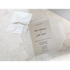 Ivory laser cut wedding card; beige inner paper; opened gatefold