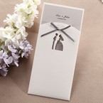 Laser die cut traditional bride and groom design with grey ribbon pocket invite