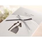 Traditional bride and groom design laser die cut embossed detail grey rebboned pocket invite