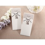Gray ribboned white traditional designed with embossed detail pocket invite