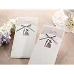 Bride groom laser die cut design gray ribboned ivory pocket invite