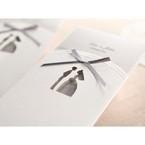 Gray inner paper white laser die cut traditional bride and groom design grey ribboned pocket