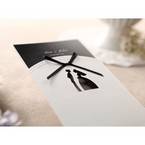 Black ribboned traditional bride groom designed pocket invite with black inner card, cropped