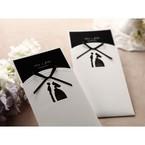 Traditional bride and groom laser die cut design pocket invite, black inner card, cropped bottom
