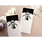 Embossed detail laser die cut bide groom design pocket invitation with black inner card