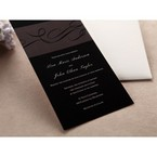 Black thermography printed inner card with digital design, cropped bottom