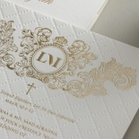 Quilted Half Pocket Royal Crest with Foil - Wedding Invitations - WP307GG - 183807